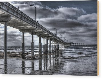 Wood Print featuring the digital art Ocean Beach Pier by Photographic Art by Russel Ray Photos