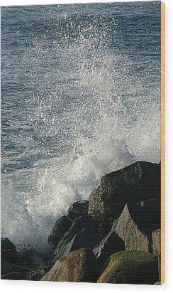 Ocean Beach Splash 1 Wood Print