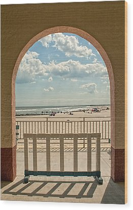 Ocean City Beach View Wood Print