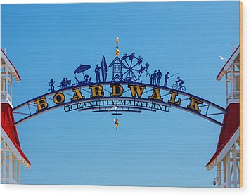 Ocean City Boardwalk Arch Wood Print by Bill Swartwout