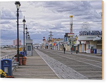 Ocean City Boardwalk Wood Print by John Loreaux