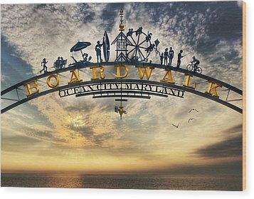 Ocean City Boardwalk Wood Print by Lori Deiter