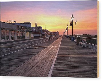 Ocean City Boardwalk Sunrise Wood Print by John Loreaux