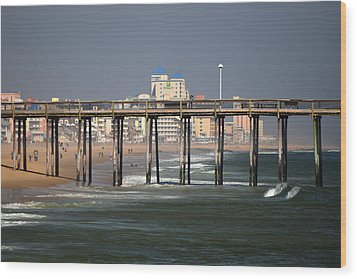Wood Print featuring the photograph Ocean City Fishing Pier In January by Bill Swartwout