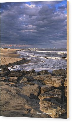 Ocean City Jetty Wood Print by John Loreaux