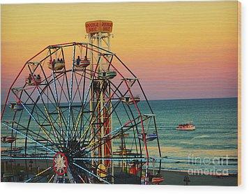 Ocean City Nj Wonder Wheel And Double Shot Wood Print