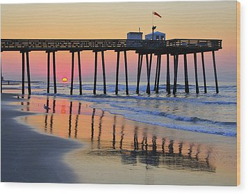Ocean City Sunrise Wood Print by Dan Myers