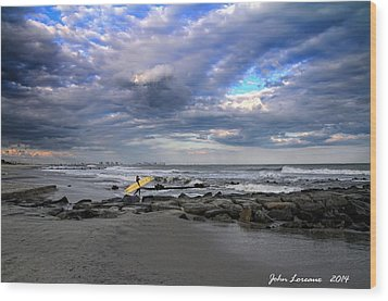 Ocean City Surfing Wood Print by John Loreaux