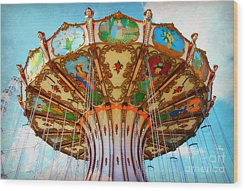 Ocean City Swing Carousel Wood Print