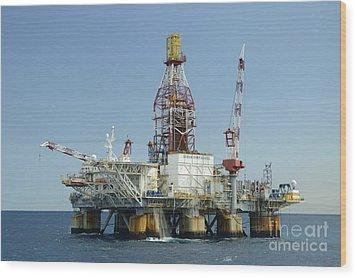 Ocean Confidence Drilling Platform Wood Print