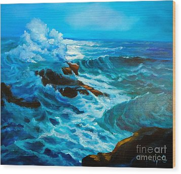 Wood Print featuring the painting Ocean Deep by Jenny Lee