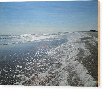 Ocean Foam Wood Print by Silvie Kendall