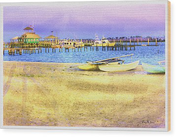 Coastal - Beach - Boats - Ocean Front Property Wood Print by Barry Jones