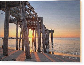 Ocean Grove Pier Sunrise Wood Print by Michael Ver Sprill