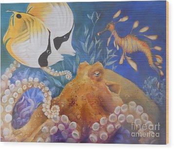 Ocean Hang Out Wood Print by Summer Celeste