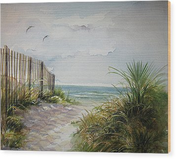 Wood Print featuring the painting Ocean Isle Beach Sold by Gloria Turner