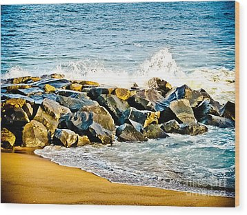 Ocean Jetty Wood Print by Colleen Kammerer