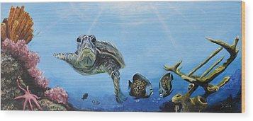 Ocean Life Wood Print by Donna Tuten