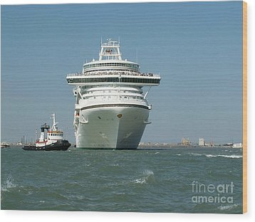 Ocean Liner And Boat Wood Print by Evgeny Pisarev