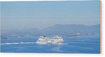 Ocean Liners In Corfu Wood Print by George Katechis