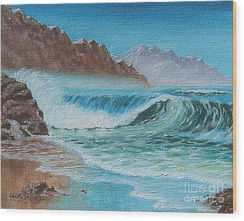 Ocean Mist Wood Print by Val Miller