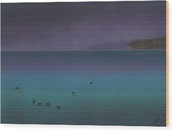 Ocean Of Glass With Seabirds Wood Print