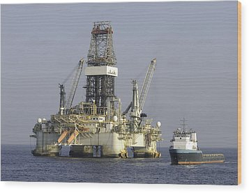 Wood Print featuring the photograph Ocean Oil Rig With Supply Boat by Bradford Martin