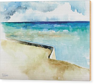 Ocean Pier In Key West Florida Wood Print