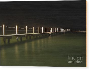 Ocean Pool By Night 2 Wood Print by Kaye Menner