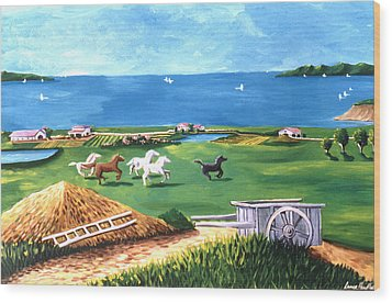 Wood Print featuring the painting Ocean Ranch by Lance Headlee