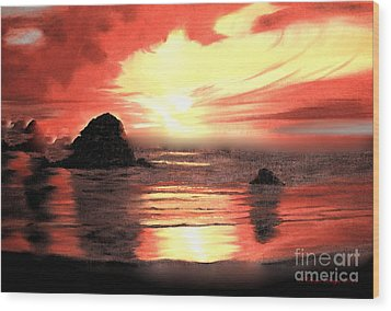 Ocean Shore On Canvas Wood Print