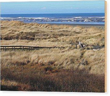 Ocean Shores Boardwalk Wood Print by Jeanette C Landstrom