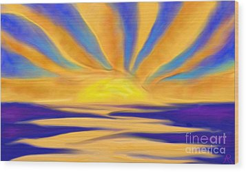 Ocean Sunrise Wood Print by Anita Lewis