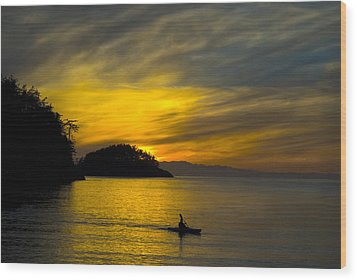 Ocean Sunset At Rosario Strait Wood Print