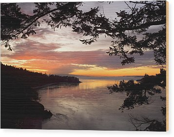 Ocean Sunset Deception Pass Wood Print