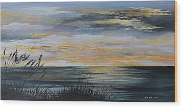 Ocean Sunset Wood Print by Ken Ahlering