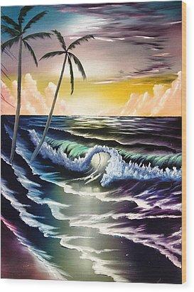 Ocean Sunset Wood Print by Koko Elorm