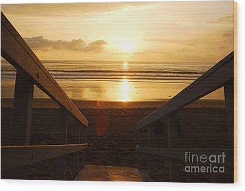 Ocean Sunset Wood Print by Micah May