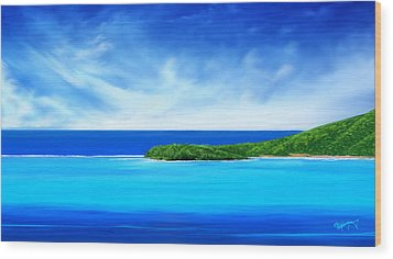 Wood Print featuring the digital art Ocean Tropical Island by Anthony Fishburne