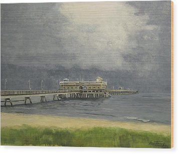 Wood Print featuring the painting Ocean View Pier by Stan Tenney