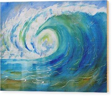 Ocean Wave Wood Print by Carlin Blahnik