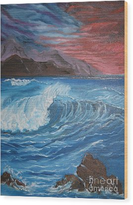 Wood Print featuring the painting Ocean Wave by Jenny Lee