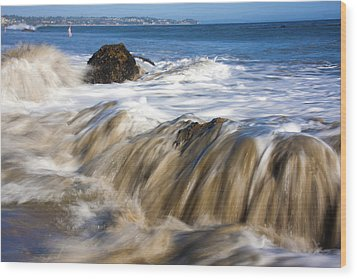 Ocean Waves Breaking Over The Rocks Photography Wood Print