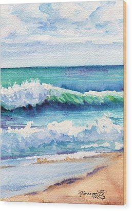 Wood Print featuring the painting Ocean Waves Of Kauai I by Marionette Taboniar