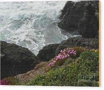Ocean Wildflowers-2 Wood Print by Avis  Noelle