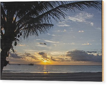 Oceanfront Park Sunrise 1 Wood Print by Don Durfee