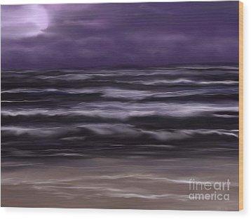 Ocean Night Wood Print by Roxy Riou