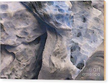 Oceans Edge Wood Print by Gwyn Newcombe