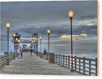 Oceanside Pier At Sunset Wood Print by Ann Patterson