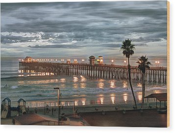 Oceanside Pier At Dusk Wood Print by Ann Patterson